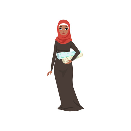 Arabic businesswoman character standing with with rolls in her hands, elegant Muslim woman in traditional dress vector Illustration on a white background 일러스트