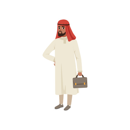 Arabic businessman character standing with briefcase, Muslim man in traditional clothing vector Illustration on a white background Иллюстрация