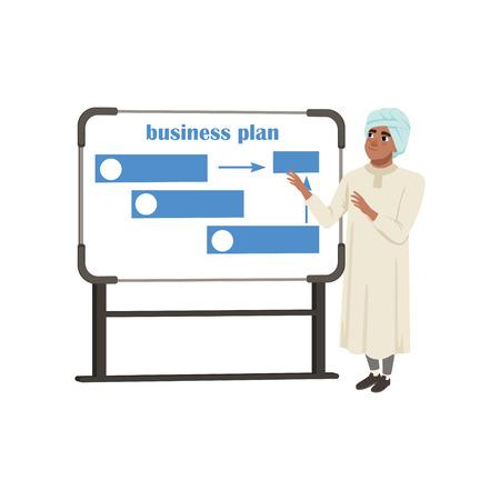 Arabische Geschäftsmann Charakter Präsentation und erklären Planung Arbeit und Strategien Vektor-Illustration auf weißem Hintergrund Standard-Bild - 95611720