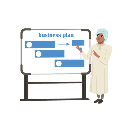 Arabic businessman character presentation and explaining planning work and strategies vector Illustration on a white background
