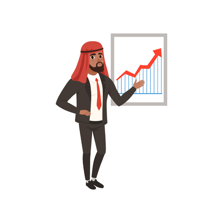 Arabic businessman character making presentation and explaining chart on a whiteboard vector Illustration on a white background