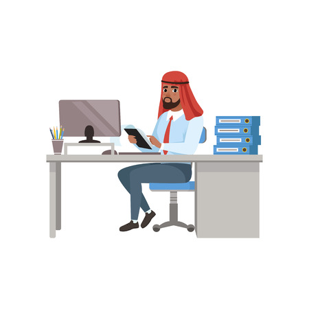 Arabic businessman character sitting at office desk and working on computer vector Illustration on a white background