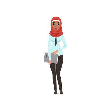 Arabic businesswoman character standing with folder for documents, elegant Muslim woman in formal wear vector Illustration on a white background Stock Illustratie