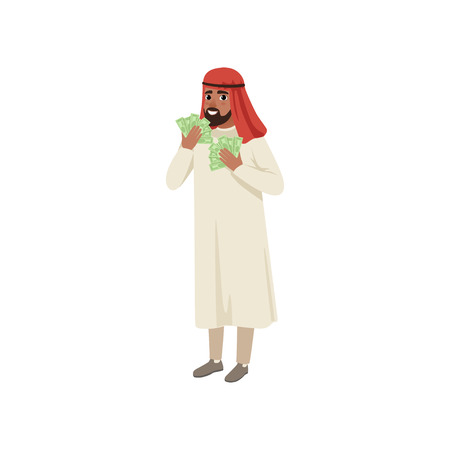 Arabic businessman character holding fans of dollar cash showing money, Muslim man in traditional clothing vector Illustration on a white background