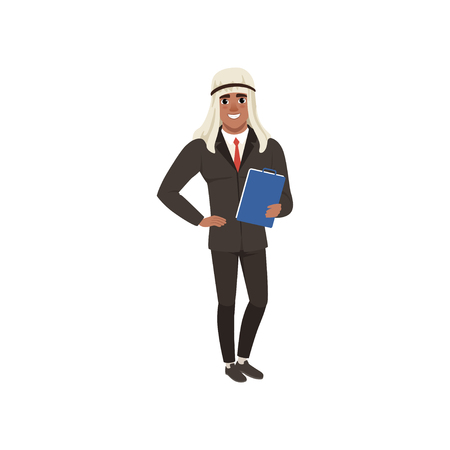 Arabic businessman character in formal wear standing with folder for documents vector Illustration on a white background Иллюстрация