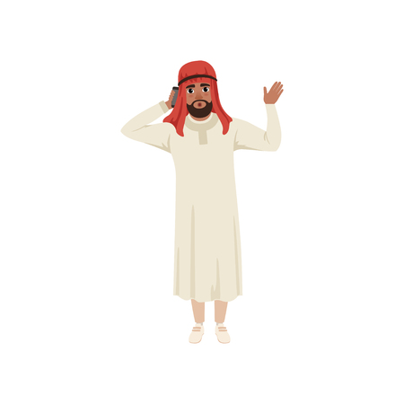 Arabic businessman character talking by pone and waving his hand, Muslim man in traditional clothing vector Illustration on a white background