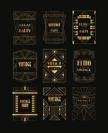 Vintage collection of golden Art Decor frames. Illustration