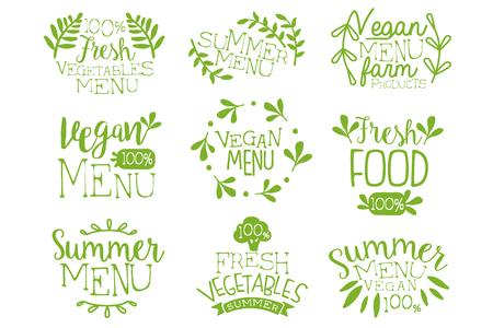 Green hand drawn vegetable menu icon set.