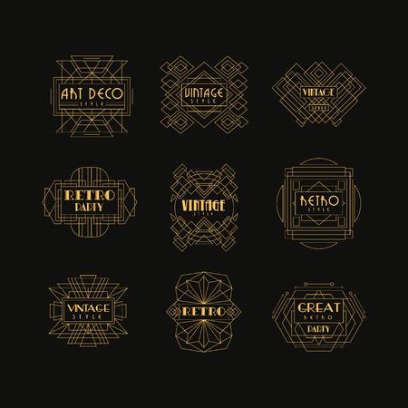 Decorative golden icon set in vintage style. Illustration