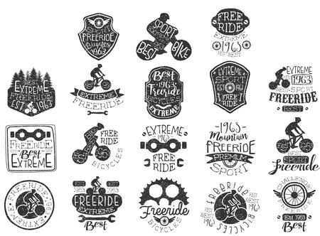 Hand drawn black icon set for free rides theme  biking club  extreme sports.