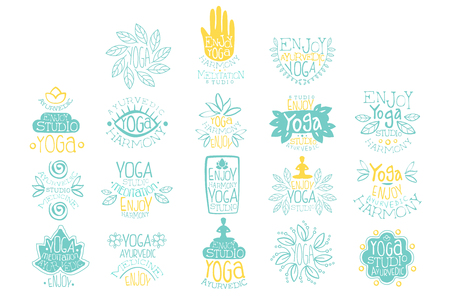 Hand drawn creative design yoga ayurvedic club icon set.