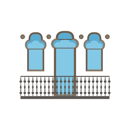 Balcony in oriental style vector Illustration on a white background
