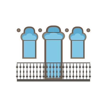 Balkon in der orientalischen Art vector Illustration auf einem weißen Hintergrund Standard-Bild - 95637529