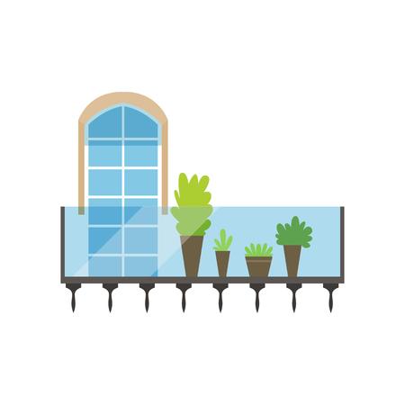 Modern glas en staal balkon met planten en gebogen venster vector illustratie op een witte achtergrond