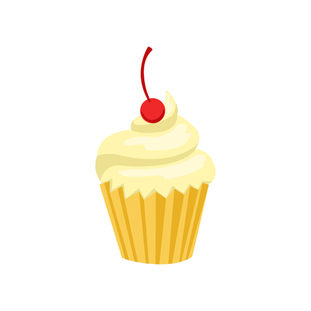 Cupcake, sweet pastry decorated with cherry vector Illustration