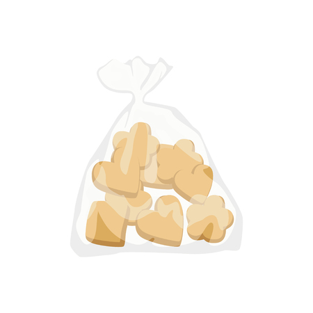 Bakery cookies in plastic bag vector Illustration. Illustration