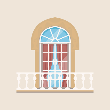 Balcony with stone balusters and arched window vector Illustration. Иллюстрация