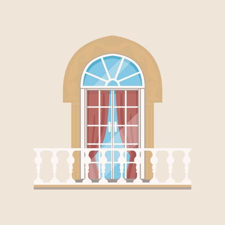 Balkon met stenen balusters en gebogen venster vectorillustratie. Stock Illustratie