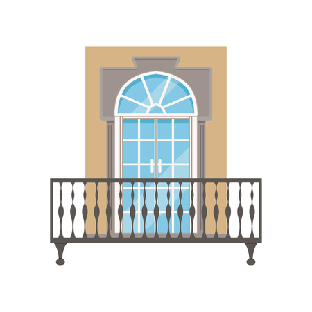 Balcony with wrought iron railing, classical house facade vector Illustration on a white background
