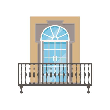 Balkon mit Schmiedeeisengeländer, klassische Hausfassadenvektor Illustration auf einem weißen Hintergrund