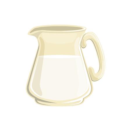 Glass jug of milk vector Illustration.