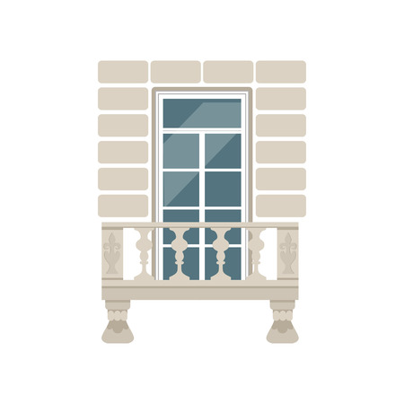 Balcony with stone balusters vector Illustration on a white background. Illustration