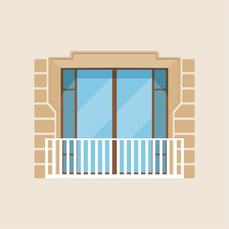 Modern balcony classical house facade vector Illustration Illustration