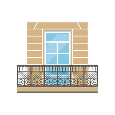 Balcony with wrought iron railing in classic style vector Illustration on a white background