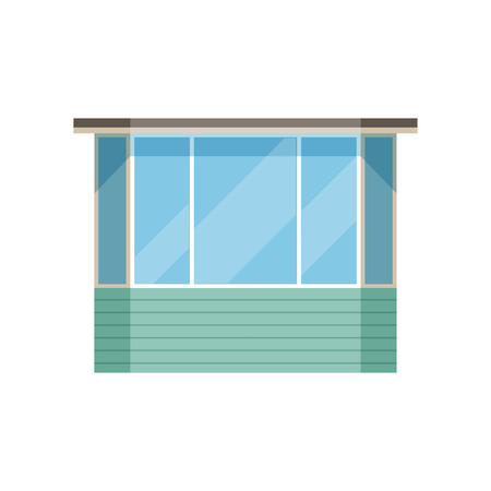 Glazed modern balcony vector Illustration on a white background.