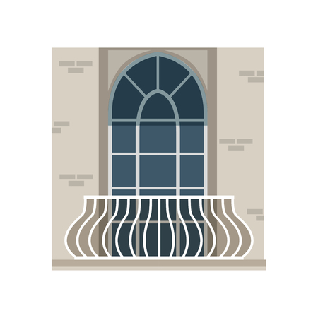 Balcony with wrought iron railing and arched window vector Illustration on a white background