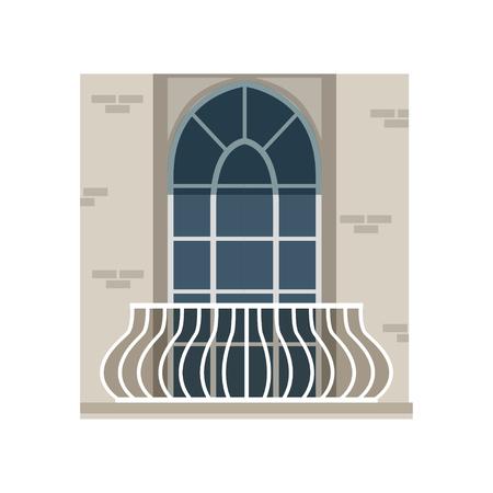 Balkon met smeedijzeren leuning en gebogen venster vector illustratie op een witte achtergrond Stockfoto - 95809936