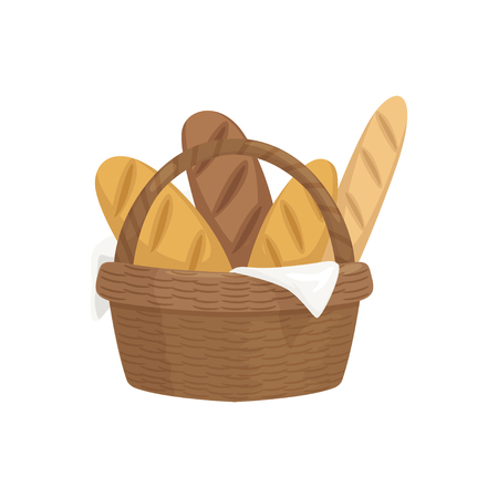 Fresh baguettes in wooden basket, fresh baked bread vector Illustration