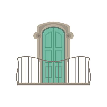 白い背景に緑色のシャッターと錬鉄製の手すりベクトルのイラストを持つウィンドウ。