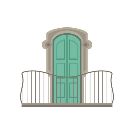 Window with green shutter and wrought iron railing vector illustration on a white background.