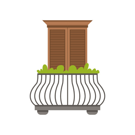 Balcony of European house with wrought iron railing and plants, window with shutters vector Illustration on a white background Ilustração