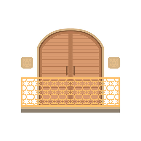 Window with shutter and wrought iron railing vector illustration on a white background.