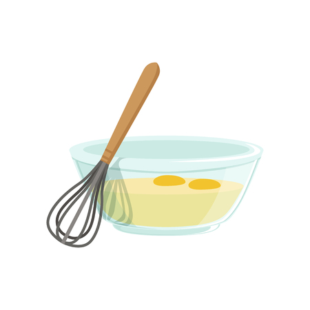 Raw eggs in a glass bowl and whisk for whipping vector Illustration Ilustração