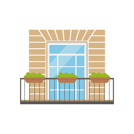 Balcony with wrought iron railing and plants in pots, classical house facade vector Illustration on a white background