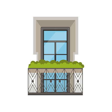 Classical balcony with wrought iron railing and plants vector illustration on a white background.