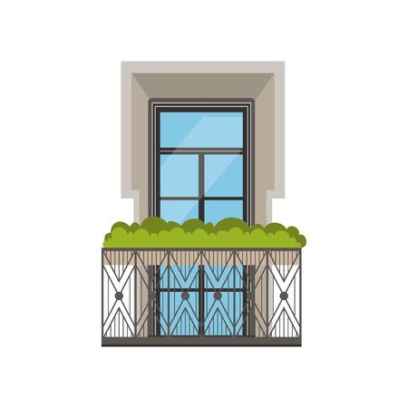 Klassiek balkon met smeedijzertraliewerk en planten vectorillustratie op een witte achtergrond.