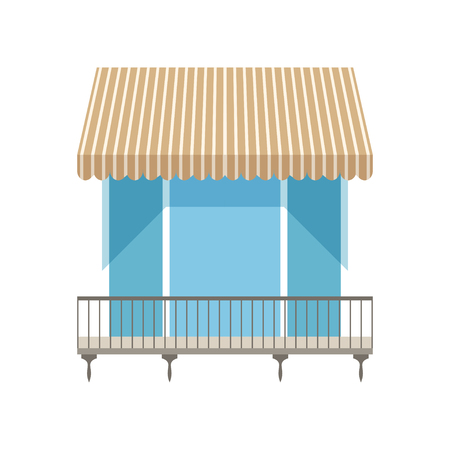 Balcony with shutters awning vector Illustration on a white background