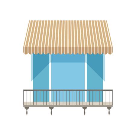 Balkon mit Fensterläden Markise Vektor-Illustration auf weißem Hintergrund Standard-Bild - 95637543