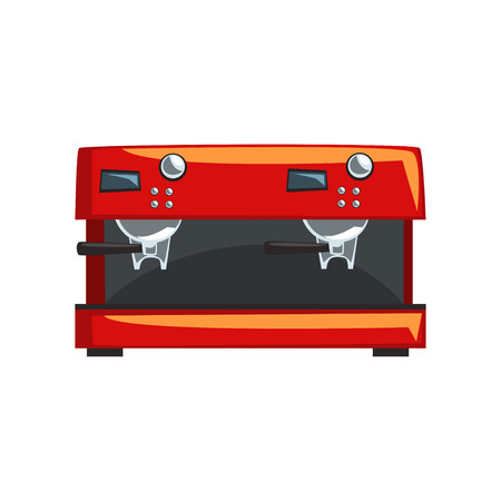 Red coffee machine, espresso coffee maker cartoon vector Illustration on a white background Illustration