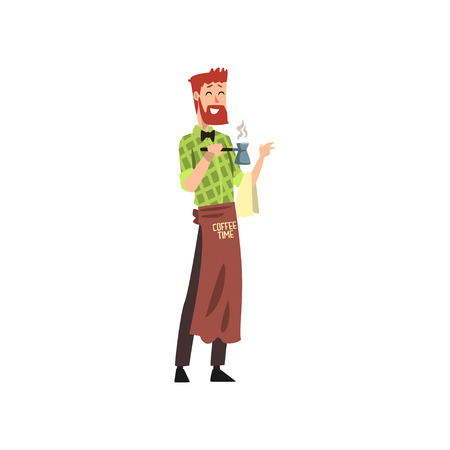 Male friendly barista with brown apron making a cup of coffee with cezve, coffee shop cartoon vector Illustration on a white background Illustration