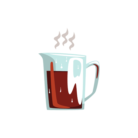 Glass coffeepot hot coffee cartoon vector Illustration on a white background 向量圖像