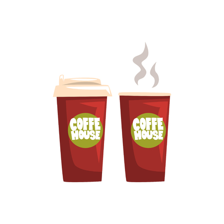 Two brown take away paper coffee cups, hot coffee disposable to go cups with lids and inscription Coffee House cartoon vector Illustration on a white background