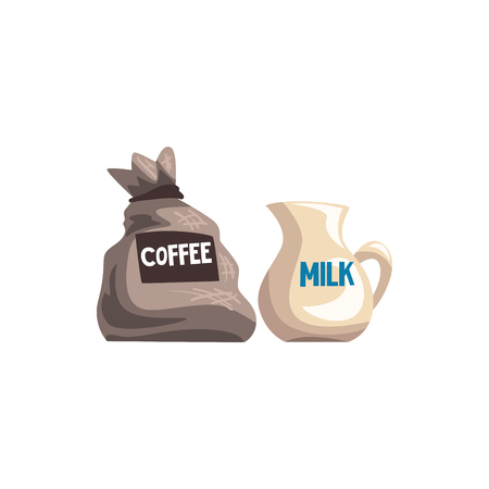 Small bag of coffee and milk jug cartoon vector Illustration on a white background