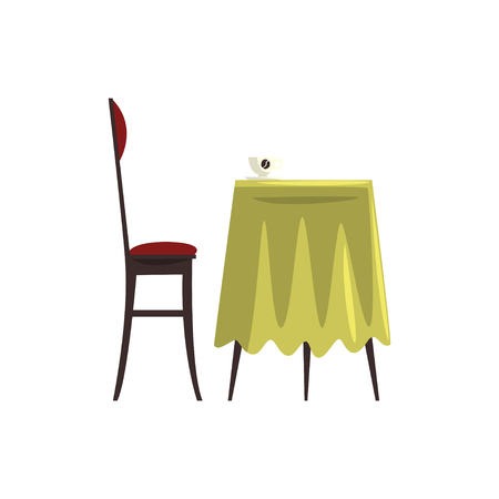Coffee table with coffee cup and chair cartoon vector Illustration on a white background Stock Illustratie