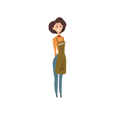 Friendly female barista with apron, coffee shop cartoon vector Illustration on a white background  イラスト・ベクター素材