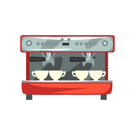 Professional coffee machine cartoon vector Illustration on a white background